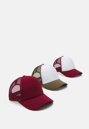 3 PACK - Cap - bordeaux/khaki