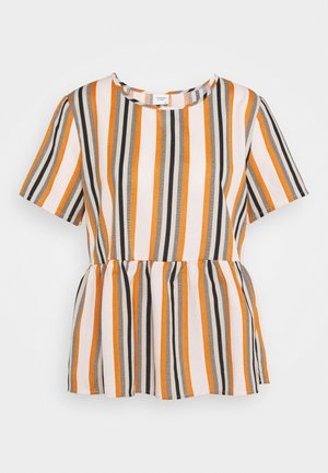 JDYSTRIPY LIFE  TOP - Blouse - cloud dancer/brown/black