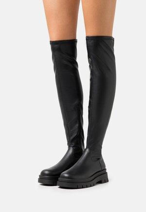 VEGAN GRACE COMBAT BOOT - Stivali sopra il ginocchio - black smooth