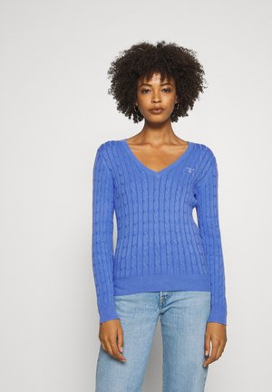 STRETCH CABLE V NECK - Sweter - pacific blue
