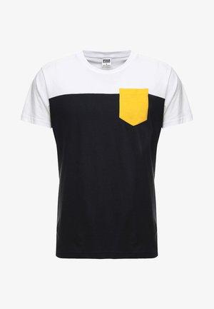 T-shirt print - navy/white/chromeyellow