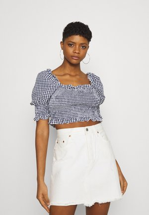 GINGHAM SHIRRED PUFF SLEEVE CROP - T-shirt con stampa - navy