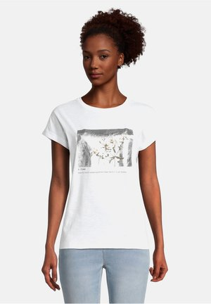 Print T-shirt - weiß/grau