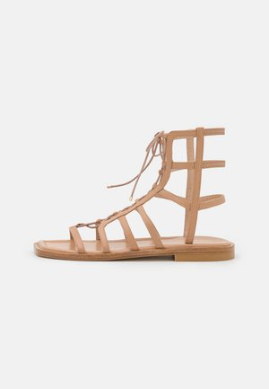 KORA LACE UP - Ankle cuff sandals - tan