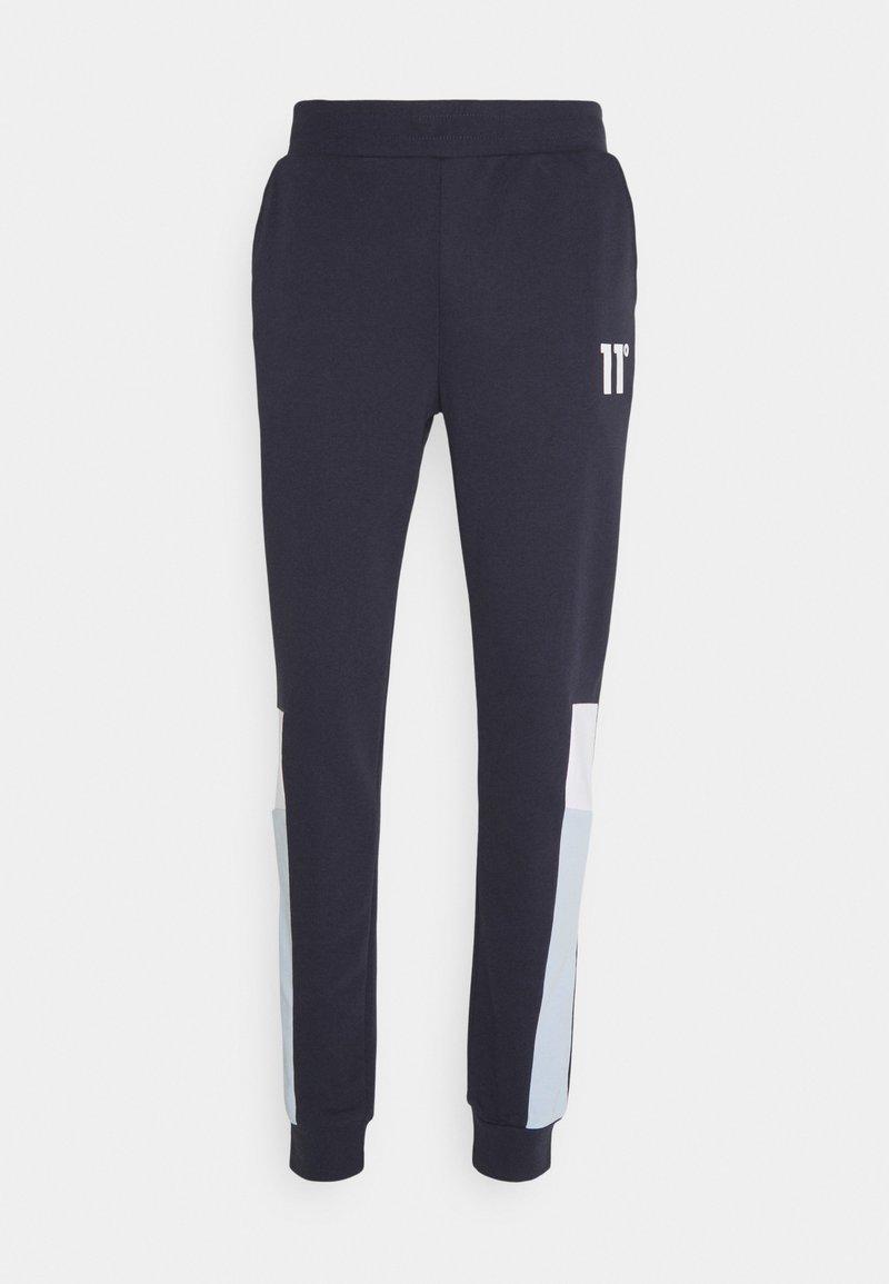 11 DEGREES - CUT SEW SIDE PANELLED JOGGERS  - Teplákové kalhoty - navy /white/poweder blue
