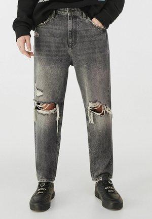 MIT RISSEN - Jeans slim fit - grey