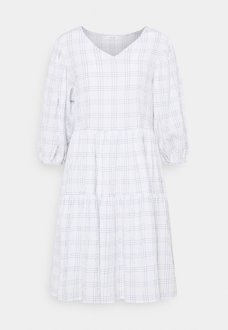 Marc O'Polo DENIM - WIDE SLEEVES DRESS WITH CHECK - Day dress - scandinavian white