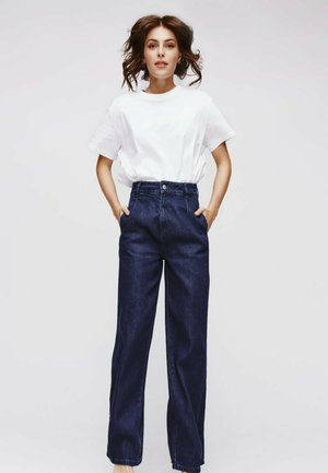 LARGE TAILLE HAUTE - Jean flare - jean rinse