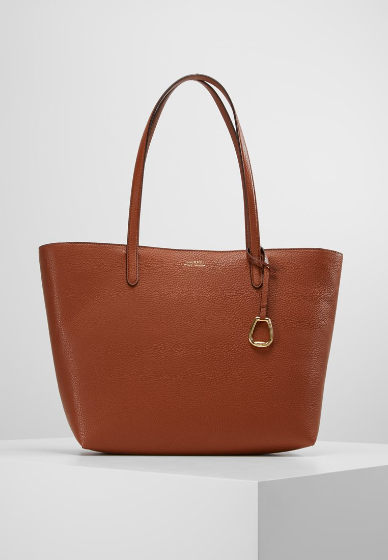 Lauren Ralph Lauren - VEGAN TOP ZIP TOTE - Håndtasker - tan/orange