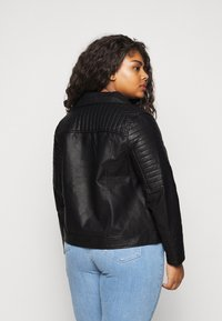 New Look Curves - BIKER - Faux leather jacket - black - 2