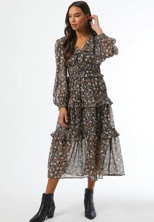 FLORAL SHIRRED - Day dress - black/brown