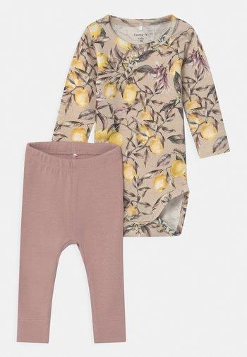 NBFDARINA SET - Leggings - Trousers - peyote melange/adobe rose