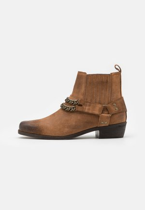 LEATHER UNISEX - Cowboy/biker ankle boot - camel