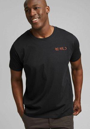 MIT STICKEREI - Print T-shirt - black