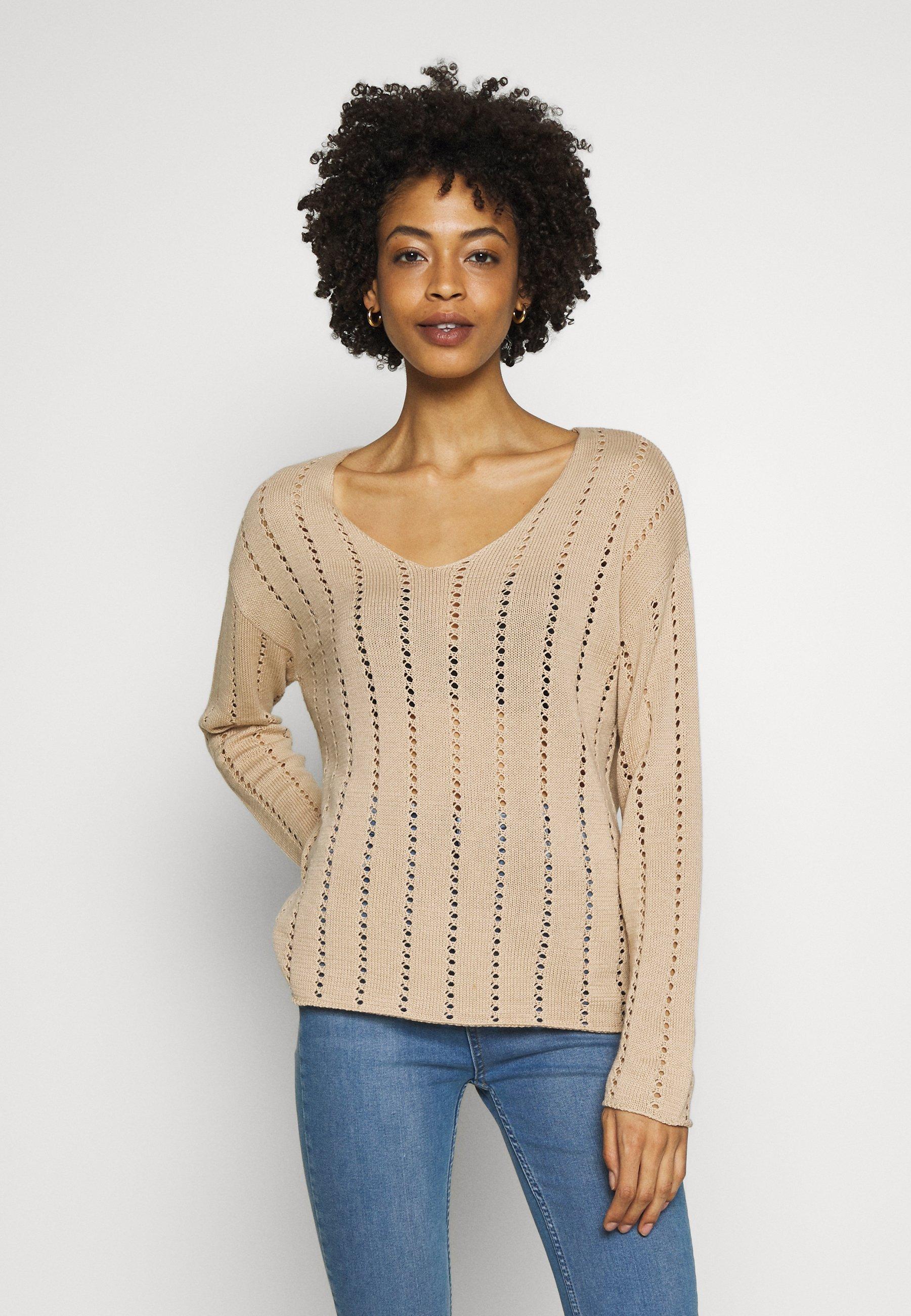 Kaffe KABARTE V-NECK - Pullover - sesame - Pulls & Gilets Femme 6yawM