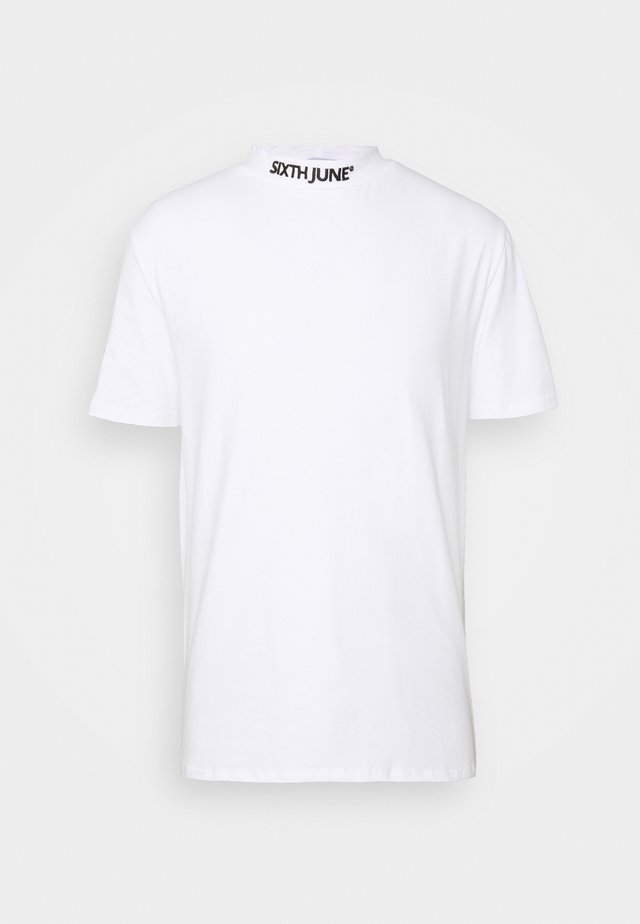 HIGH NECK TEE - Print T-shirt - white
