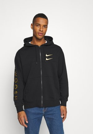 HOODIE - veste en sweat zippée - black/gold