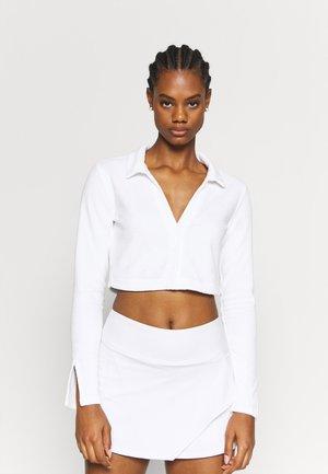 SNAP FRONT CROP - T-shirt à manches longues - white