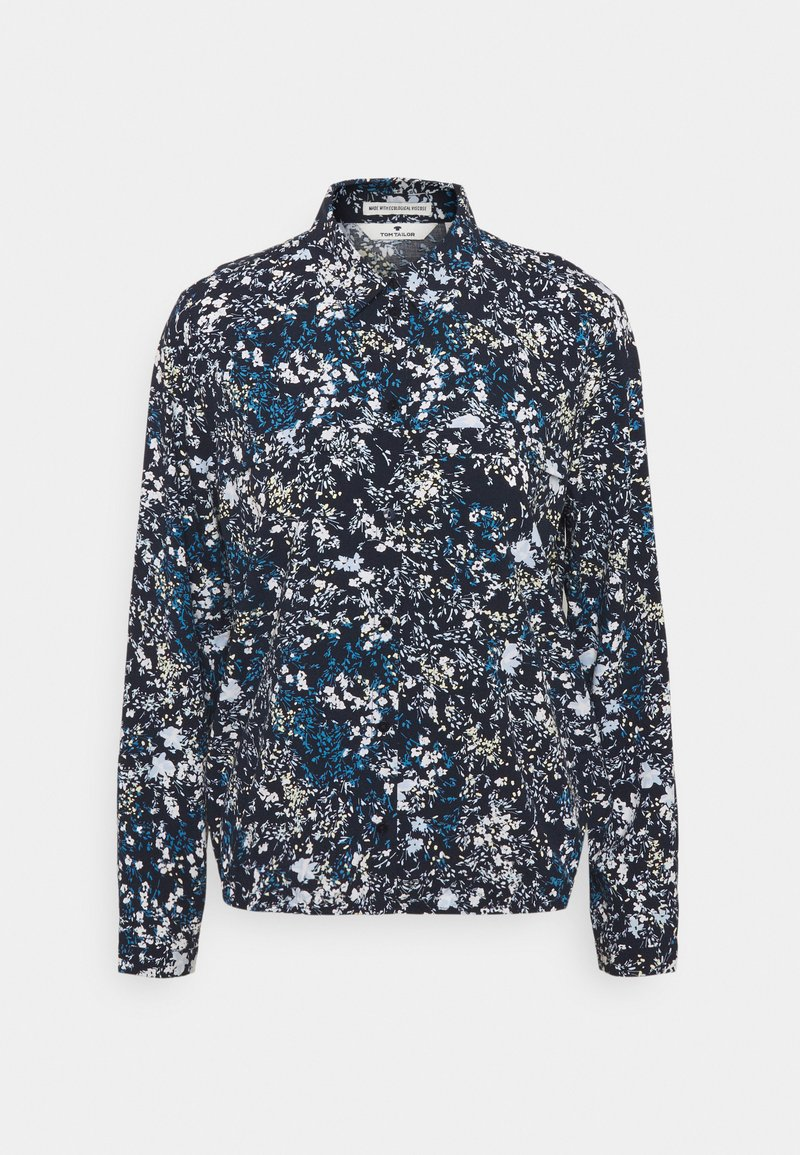 TOM TAILOR - BLOUSE PRINTED - Button-down blouse - navy/yellow