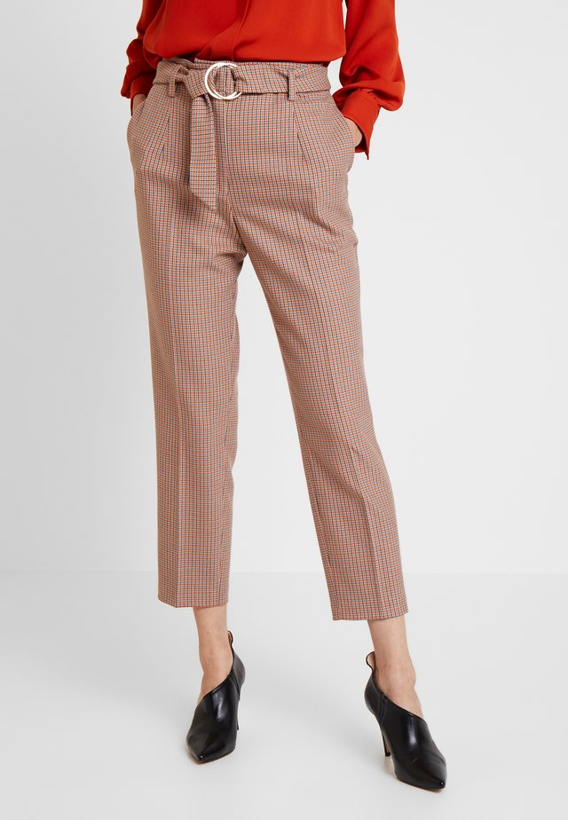 CHECHED TROUSER WITH BELT - Pantaloni - blues