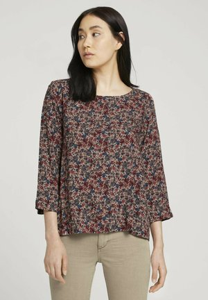Blouse - pink blue multicolor ditsy