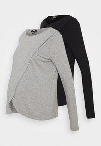Missguided Maternity - NURSING LONG SLEEVE 2 PACK - Long sleeved top - black/grey marl - 5