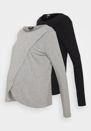 NURSING LONG SLEEVE 2 PACK - Long sleeved top - black/grey marl