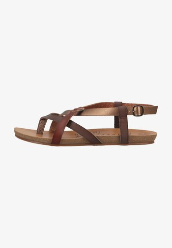 T-bar sandals - tobacco/amber/whiskey dyecut