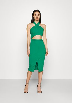 ALI HALTER NECK CUT OUT MIDI DRESS - Jerseykjole - leaf green