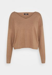 Zign - SET KNIT V-NECK AND PANT  - Svetr - camel - 1