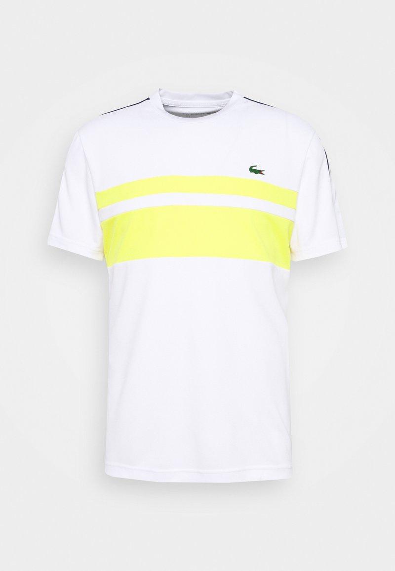 Lacoste Sport - TENNIS - Print T-shirt - white/pineapple/navy blue