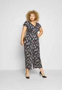 Anna Field - OCCASION - ALL OVER PRINT SHORT SLEEVES FRONT KNOT JUMPSUIT - Jumpsuit - black/multi-coloured - 1