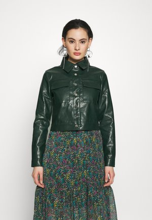 BUTTON FRONT JACKET - Imitert skinnjakke - dark green