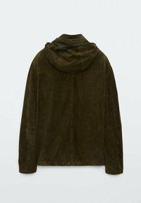 Massimo Dutti - Leather jacket - khaki - 4