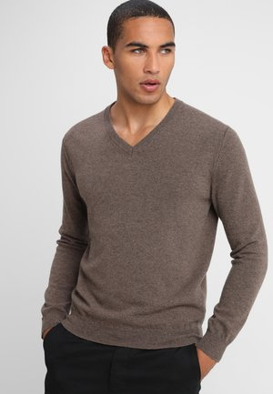 BASIC V NECK - Jumper - brown