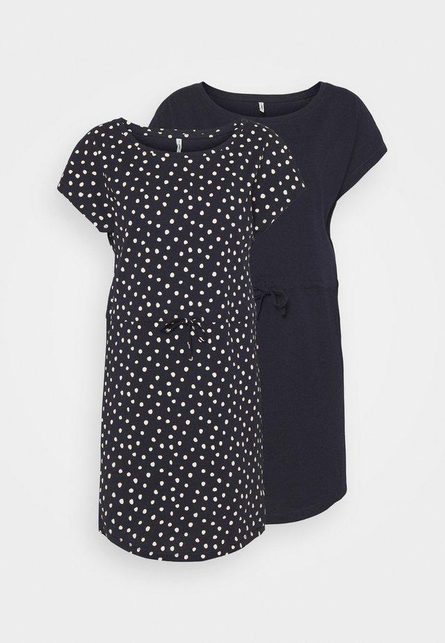 ONLMAY LIFE DRESS 2 PACK - Žerzejové šaty - night sky/ecru
