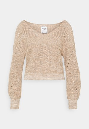 SLOUCHY VNECK - Jumper - neutral marl