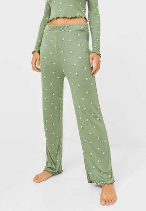 MIT BLUMENPRINT  - Pyjama bottoms - khaki