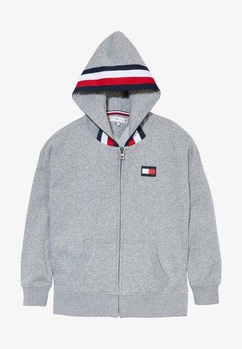 GLOBAL STRIPE DETAIL - Zip-up sweatshirt - grey