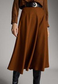 Massimo Dutti - A-snit nederdel/ A-formede nederdele - ochre - 4