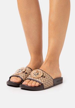 Pantolette flach - brown dark
