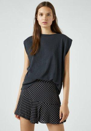 MIT BLUMENPRINT - A-line skirt - dark brown