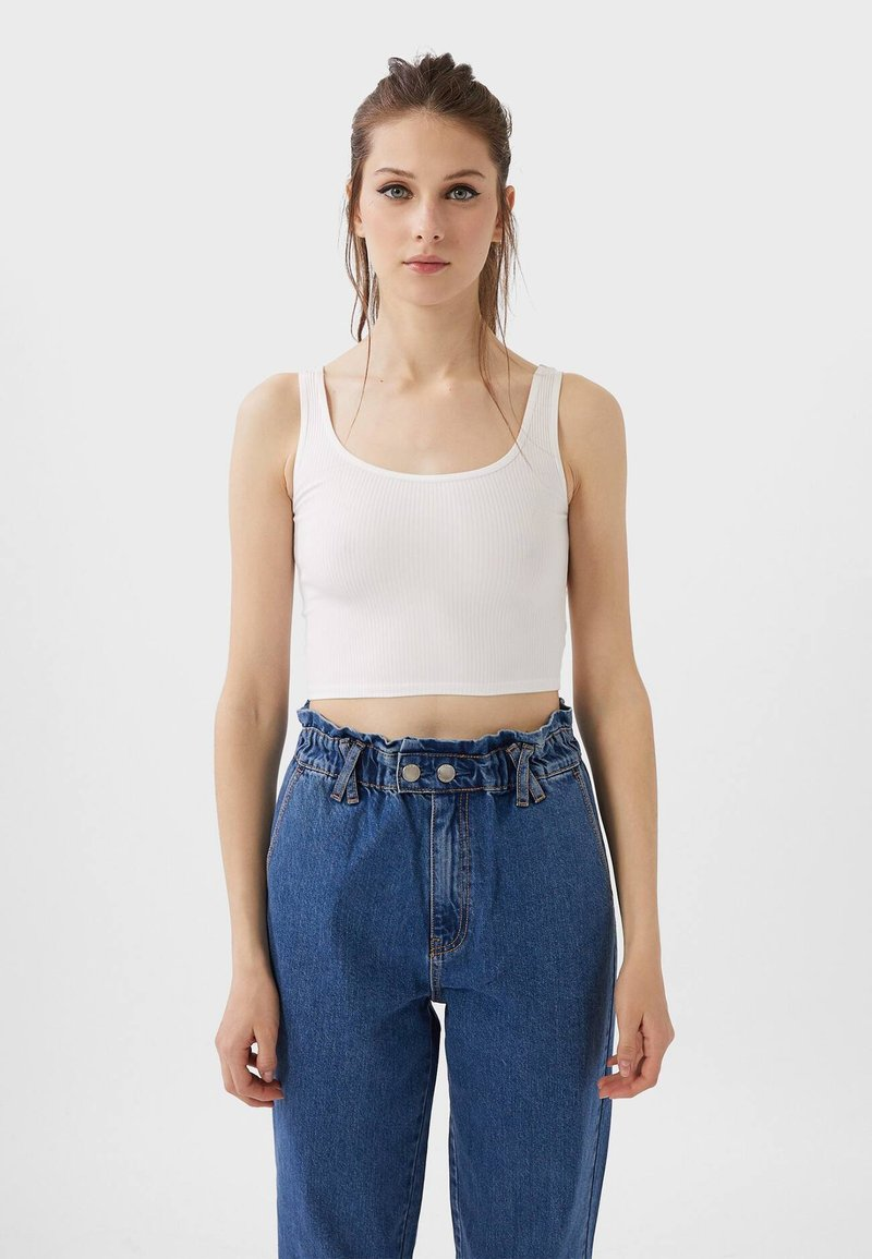 Stradivarius - CROPPED - Top - white