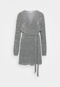 Nly by Nelly - WRAP SEQUIN DRESS - Cocktail dress / Party dress - dark silver - 0