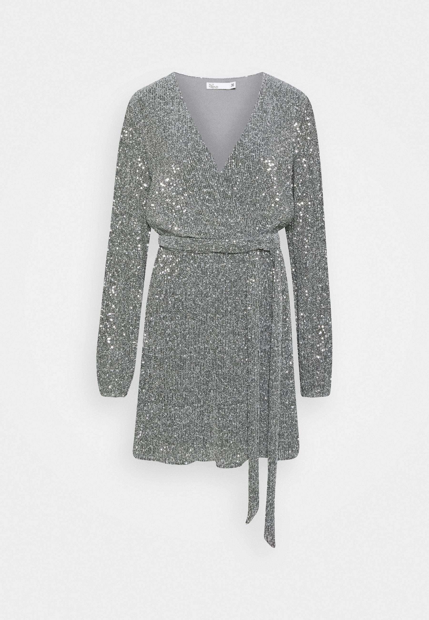 wrap sequin dress - cocktailkleid/festliches kleid - dark silver