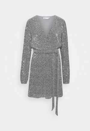 WRAP SEQUIN DRESS - Cocktailkjole - dark silver