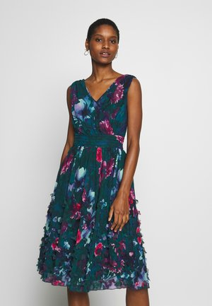 EMBROIDERED DRESS - Vestito elegante - petrol/multicolor