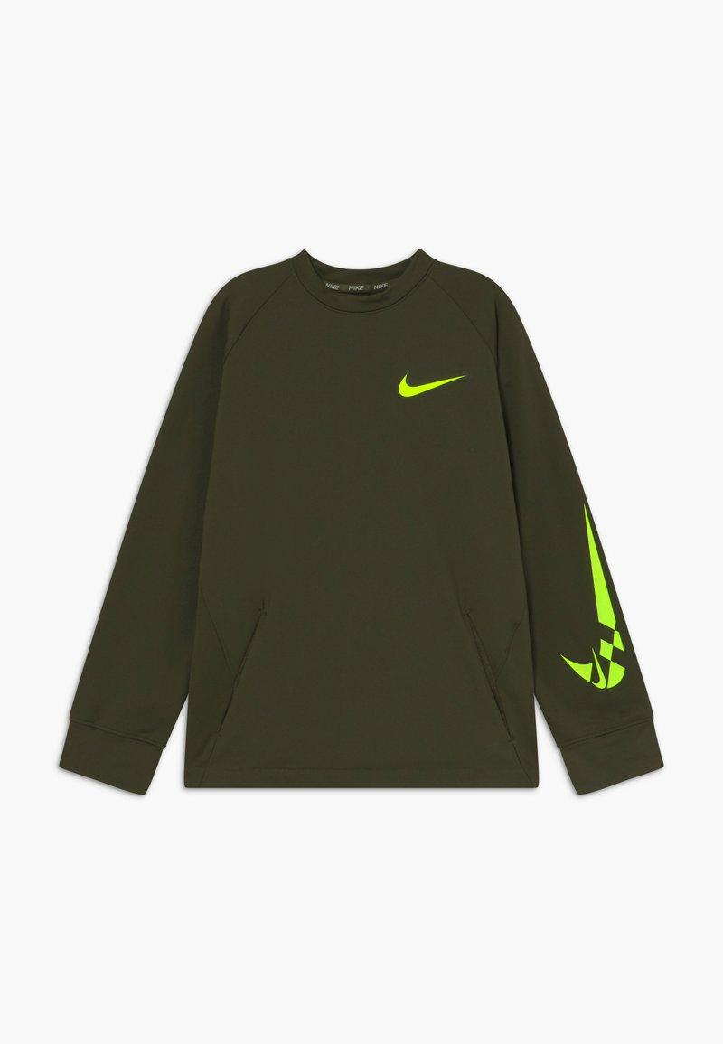 Nike Performance - COMFORT - Fleece jumper - khaki/volt