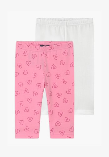 SMALL GIRLS HEARTS 2 PACK - Leggings - pink/white