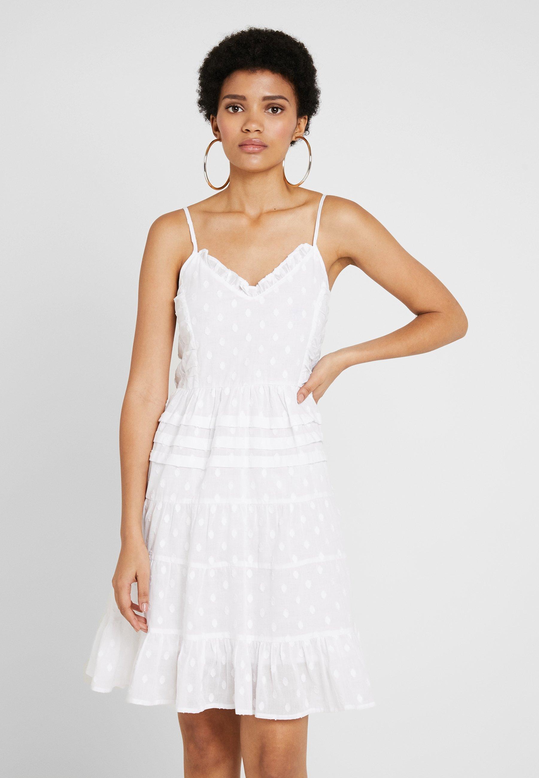 dobby dot dress - freizeitkleid - white